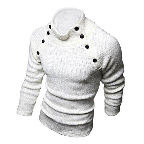 SODIAL (R) Nuovo Moda Uomo Dolcevita Slim Fit manica lunga in maglia Cardigan Maglioni Pullover bianco XXL