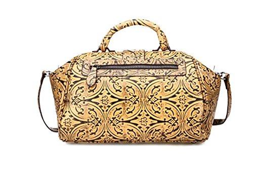 DJB/ Vintage Leder Blumen Tasche Arzt Tasche casual chic Laptop Messenger Tasche Handtaschen Schulter Yellow