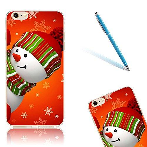 iPhone 8 Hülle, Luxus Christmas Series CLTPY iPhone 7 Dünne Weich Silikon Handytasche mit Transparent Bumper für Apple iPhone 7/8 + 1 x Freier Stift - Glocke Hinlegen Schneemann