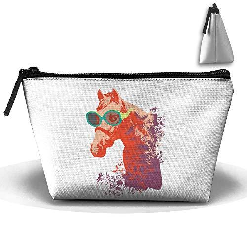 Trapezoidal Bag Makeup Bag Cool Horse Storage Portable Travel Wash Tote Zipper Wallet Handbag Carry Case