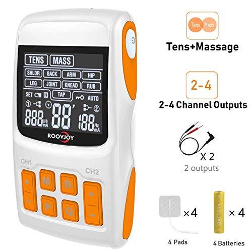 ROOVJOY TENS Unit + EMS Muskelstimulator + Puls-Massagegerät 3-in-1-Kombination, Muskelstimulator für Muskelsteifheit, Schmerzen, Schmerzen und Schmerzen