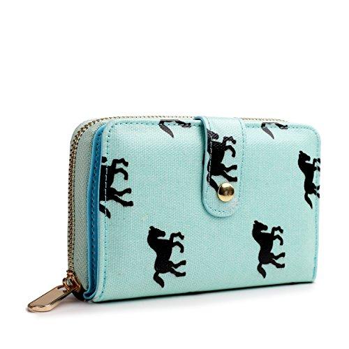 miss-lulu-designer-oilcloth-floral-spot-polka-dot-butterfly-horse-folded-zip-wallet-purse-horse-blue