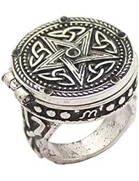 Vintage envejecido Plata fangbanger Plata Tribal celta Trinity Knot Star tallada camafeo Anillo de cristal negro