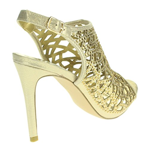 Donne Le Signore Taglio laser Moda Cinturino alla caviglia Peeptoe Sera Nuziale Nozze Festa Ballo di fine anno Tacchi Alti Sandali Scarpe Taglie Oro