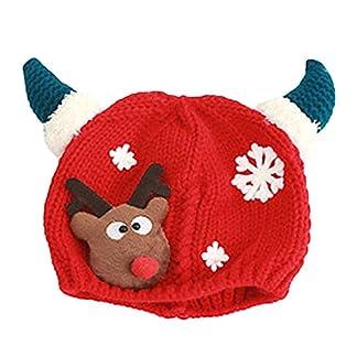 Vococal® Gorros de Invierno,Sombrero Gorros de Punto Navidad Santa Alce la Decoración del Reno para Niños Bebé (Rojo)