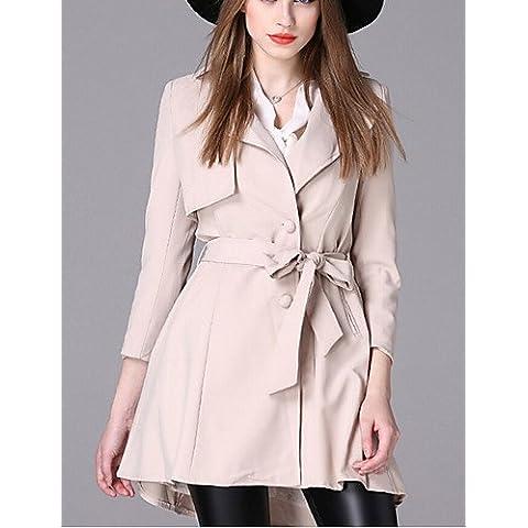 La mujer/Diario casual simple zanja Coat,muesca sólido de manga larga de solapa otoño / invierno rojo / negro / beige Spandex mediano,Blue,3XL