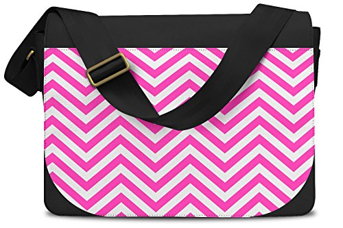 Chevron Stripes Hot Pink - One Size Messenger Bag - Messenger Bag Umhängetasche
