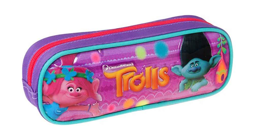 Trolls – Estuche escolar para niños (22 x 7,5 x 5 cm)