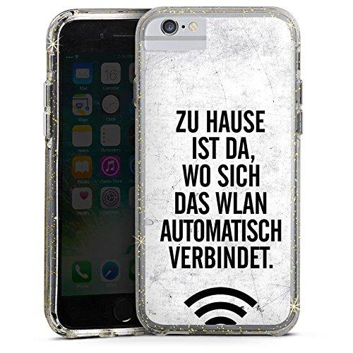 Apple iPhone 6 Plus Bumper Hülle Bumper Case Glitzer Hülle Wlan Home Zuhause Bumper Case Glitzer gold