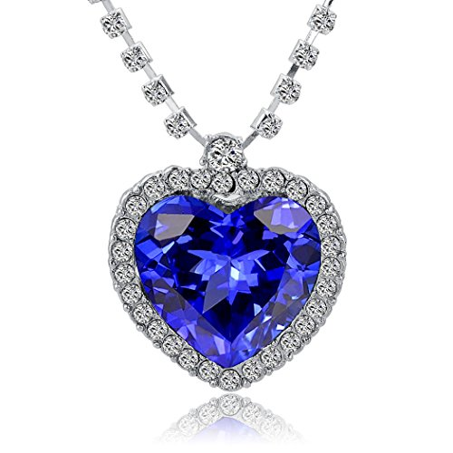 H & H UK Halskette Titanic Heart of the Ocean (Herz des Ozeans) Blauer Kristall Herz in weißer Kristallfassung