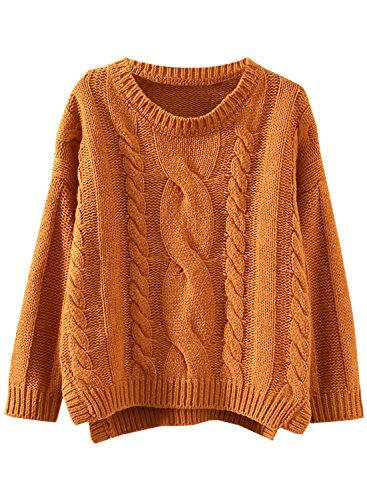 Futurino Femme Drop Manche Cropped Side Split Cable Tricot Sweater Chandail Marron