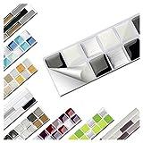 Wandaro 7er Set Fliesenaufkleber 25,3 x 3,7 cm schwarz weiß Silber Design 1 I 3D Aufkleber Fliesenfolie Mosaik Bad Küche W3467