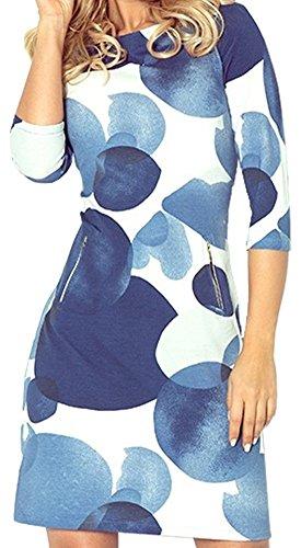 Zeta Ville - Robe mi-longue près du corps poches motif cercle - col rond - 536z Bleu