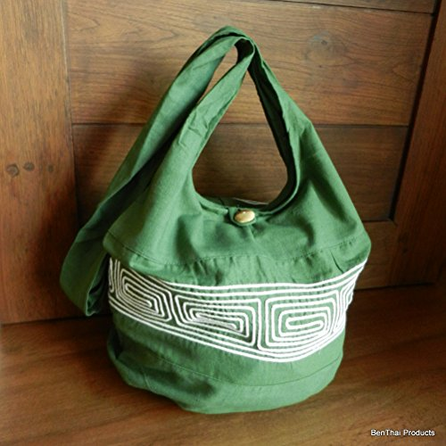 BenThai Products, Borsa a tracolla donna Nero Black ND2 large Green ND9