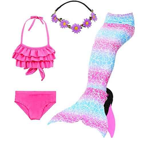 COZY HUT 2019 Meerjungfrau Flosse Zum Schwimmen Meerjungfrau Schwanz mit Flosse mit Bikini für Kinder Mädchen 5pcs Sets (3-12 Jahre) - Bikini Mädchen 8 Größe