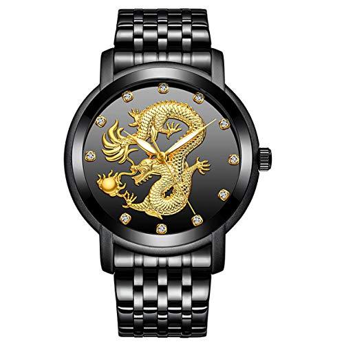 Reloj para hombre, Gorben Fashion Business Classic Nuevo diseño de Dragón, Reloj de pulsera de cuarzo de acero inoxidable, impermeable y con dial analógico con diamante de imitación para hombre, Negro