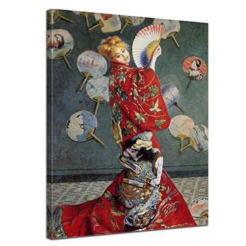 Wandbild Claude Monet La Japonaise (Camille im japanischen Kostüm) - 30x40cm hochkant - Alte Meister Berühmte Gemälde Leinwandbild Kunstdruck Bild auf Leinwand