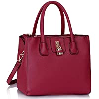 LeahWard Tote Bags For Women Quality Faux Leather 3 Compartments Shoulder Bag Handbags A4 Folder School CW195 (Burgundy Tote)