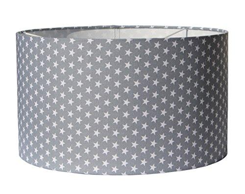 Lampenschirm Sterne textile Bespannung in 2 Größen und 5 Farben (Ø 30 cm, hellgrau)