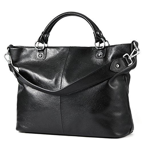 Kattee Damen Weich Leder 3-Wege Satchel Tasche Tote Handtasche Schwarz (3 Tote Tasche)