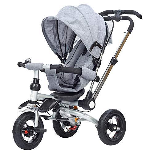 JBC 4 in 1 Dreirad Klappbar Kinderbuggy Tricycle für Kinder ab 6 Monate bis 5 Jahren, Kinderdreirad mit Abnehmbarer Buggy Auflage, Luftreifen, mit lenkender Schubstange (abnehmbar) (Hellgrau)