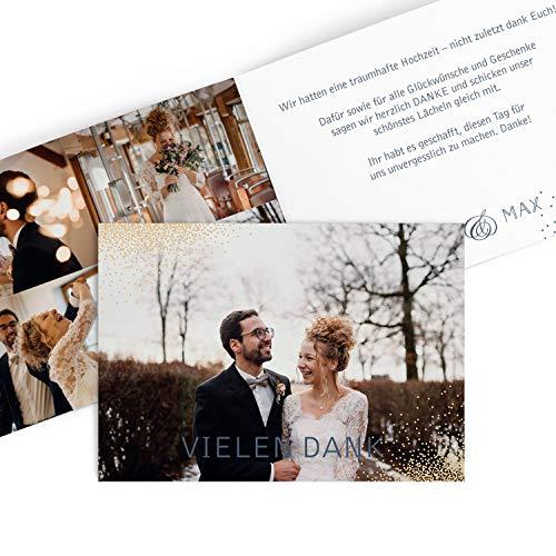 Hochwertige Dankeskarten zur Hochzeit Elegant in Creme | Inkl. Druck Ihrer Texte und Fotos | Klappkarte | Hochzeit | 20 Stück | Danksagungskarten (Silberne Hochzeit Sand)