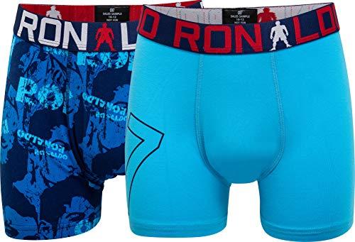 CR7 Cristiano Ronaldo - Boys - Retroshorts/Boxershorts für Jungen - 2-Pack - All-Over-Print - Blau/Türkis - Grösse 134/140 (7-9 Jahre) (CR7-8400-51-AOP-539-134/140)