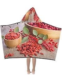 Chinese Goji Berries Suave y cálido Niños se visten con capucha Manta usable Toallas de baño