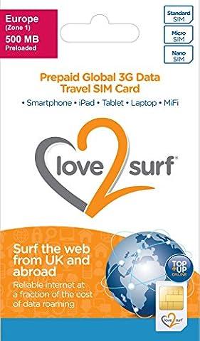 International 3G Data Travel Trio SIM Card - EUROPE - (34 EU Countries), ASIA, USA, CARIBBEAN, AFRICA & MIDDLE EAST - (EUROPE 500MB