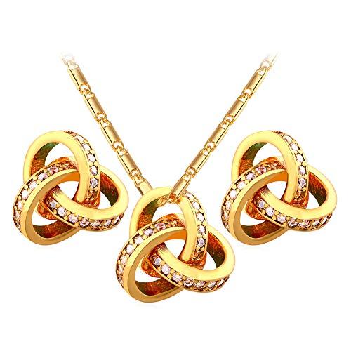 ZSML Schmuck Zircon Set für Frauen-Circum Globe Pendant Necklace Stud Earrings Gold Platte mit Zweiteig-Perfekte Geschenkverpackung,Goldcolor
