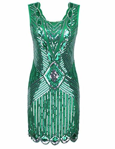 r Pailletten Perlen Zurück Tiefer V Gatsby Flapper Abendkleid S Grün (Flapper 20er Jahre Kostüme)