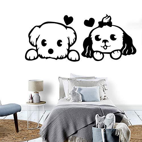 Wandtattoo Hund Wandaufkleber Tierliebhaber Haus Dekoration Für Kinderzimmer Home Party Decor Tapete Gelb L 43 cm X 100 cm -