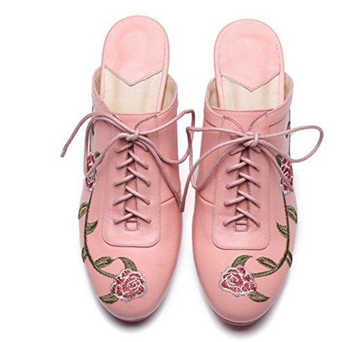 GLTER Damen Low Heel Sandalen Maultiere Schuhe Rindsleder Baotou Halbe Hausschuhe National Wind Stickerei Blumen Fine High Lace Leder Schuhe Casual Schuhe Slip-On Hausschuhe Dark Green Pink Pink