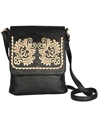 LadyBugBag Women's Leather Sling Bag - LBB10305_Black