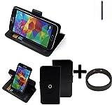 K-S-Trade® Hülle Schutzhülle Case für Nokia 1 + Bumper Handyhülle Flipcase Smartphone Cover Handy Schutz Tasche Walletcase schwarz (1x)