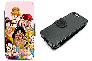 Étui portefeuille iPhone 6Plus avec Princesses Disney Funny Faces Coque Blanc Neige en sirène