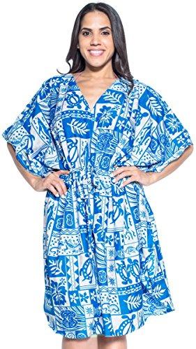 La Leela lisse plage maillots de bain hibiscus cru coverup caftan tunique likre robe mer bleue