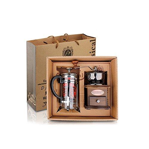 Finoki Manuelle Kaffeemaschine Set Tragbar Handkurbel keramikmahlwerk Kaffeemühlen aus Holz und...