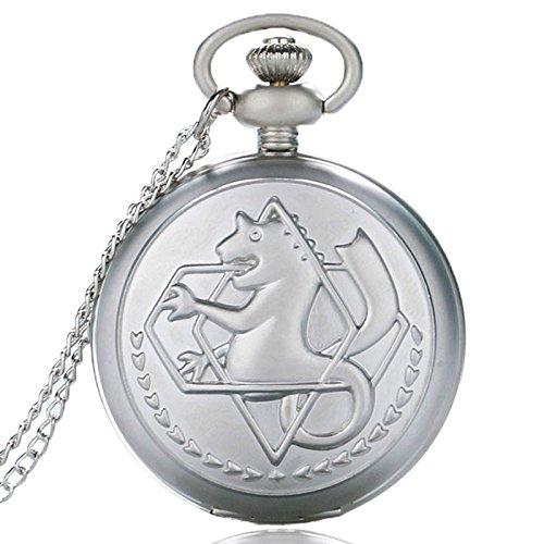 BazarAZ 1846 - [FMA] Orologio da Taschino a Cipolla modello al quarzo con catena in metallo - Apertura a scatto - Quadrante Bianco - Orologio grigio Chiaro Lucido - Manga Anime