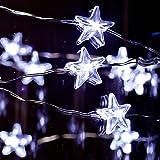 Spritech (TM) Beautiful pentagrama cortina de luz LED impermeable para al aire libre jardín valla patio fiesta de Navidad boda Festival Decoración, bl