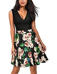 MIUSOL Damen Sommer Kleid V-Vusschnitt Armellos Blume Patterned Mini Casual Kleid Navy Blau Gr.S-XXL