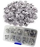 1 caja de 100 gramos de plata tibetana surtida, accesorios de bricolaje, estilo bali de lujo, separador de cuentas de metal, abalorios hechos a mano, cadena de cuentas para collar, pulsera y tobillera