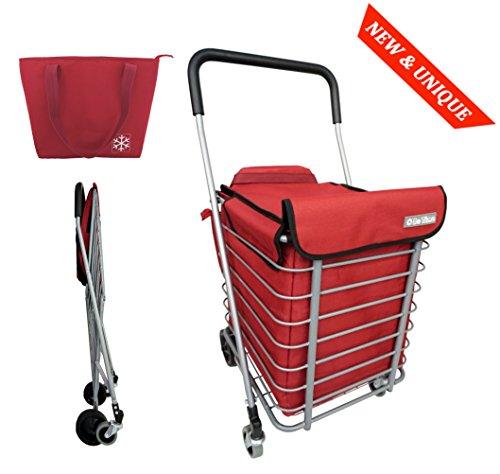 Einkaufstrolley mit Metallgestell und Korb - 4 Räder - Faltbar - Großkapazität 60L - Mit Kühltasche (60l Korb)
