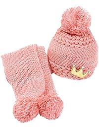 Hat + Schals zwei Saetze - SODIAL(R)Niedlich Winter Baby Kinder Maedchen Jungen Warm Woll Haube Kapuze Schal Muetzen Huete pink
