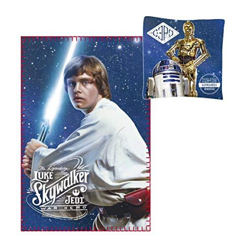 Krieg der Sterne Star Wars - Fleecedecke 100 x 150 cm + Kissen 40 x 40 cm Luke Skywalker - A New Hope - C3PO R2D2 (Luke Skywalker Deluxe Kind Kostüm)