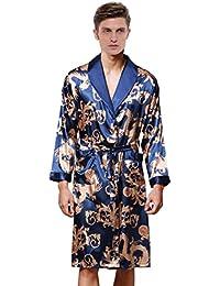 Waymoda Vestido de noche de satén de seda de lujo de los hombres, varón clásico del phoenix del dragón de la hoja del helecho de la hoja del abrigo del kimono, colores negros, 3 tamaños - Long style