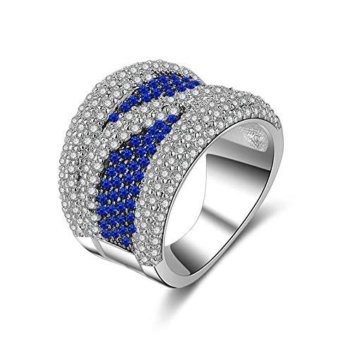 Yazilind Luxus Gehobenes Weißes Gold Überzogen und Zwei Farben Diamant Intarsien Ring für Frauen Party Bankett Kostüm Schmuck Dekor Blau 18.1