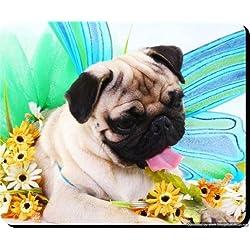 217 - Posavasos de madera, diseño de perro carlino, un regalo único para los amantes de los perros