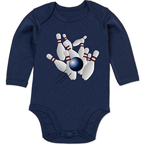 Sport Baby - Bowling Strike Pins Ball - 3-6 Monate - Navy Blau - BZ30 - Baby Body Langarm