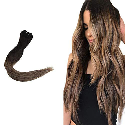 Easyouth hair weft extension di capelli ricci cheratina off sbiadimento nero per evidenziare marrone medio con biondo miele 50cm fasci di capelli intrecciati 100g vera estensione dei capelli umani